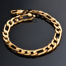 18K Gold Plated 3:1 Rings Chain Bangle Bracelet Wristband Fashion Jewelry