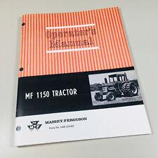 MASSEY FERGUSON MF 1150 TRACTOR OPERATORS OWNERS MANUAL MAINTENANCE ADJUSTMENTS