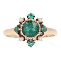 Green Glass & Seed Pearl Victorian Ring - 10k Yellow Gold Antique Milgrain Halo