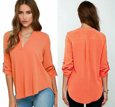 Ladies Orange V Neck Polyester Top Long Sleeve Loose Casual T Shirt Blouse 8-16