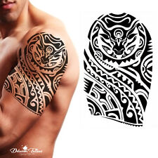 Tribal Temporary Tattoo - Polynesian Bull Maori Shoulder Arm Black Mens Womens