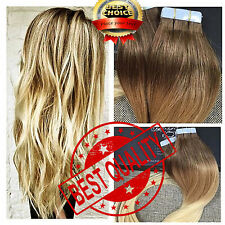 Tape In Real Human Hair Extension Lustrous Natural Straight Full Set Curly US