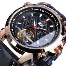 Tourbillon Skeleton Men Wrist Watches Automatic Mechanical Date Black Leather