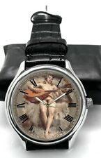 EROTIC FRENCH 19TH CENTURY ART NUDE with SPANISH GUITAR COLLECTIBLE WRIST WATCH