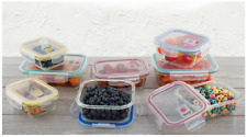 16-pc Glass Food Storage Containers Lock Tight Silicone Lids Microwave Vents