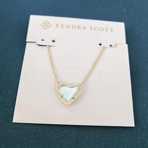 KENDRA SCOTT Ari Heart Dichroic Glass Gold Pendant Necklace NEW