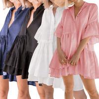 Womens Ruffle Short Sleeve V Neck Dress Beach Holiday Tunic Shirt Mini Dress