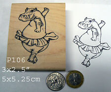 P106 Larger Dancing Hippo Rubber Stamp