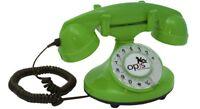 Opis FunkyFon cable: Festnetz-/ Tischtelefon mit Wählscheibe Stil 1920er grün