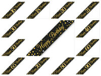 9ft Black & Gold Sparkling Fizz Metallic Birthday BANNER Party Bunting Garland