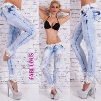 Sexy Womens Ripped Slim Fit Skinny Jeans Size 10 12 14 6 8 XS S M L XL Crochet