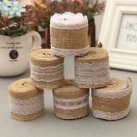 Natural Lace Edge Hessian Burlap Jute Floral Rustic Ribbon Vintage Wedding Decor