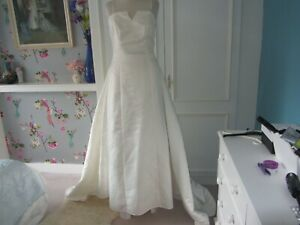Ivory satin beaded wedding dress with detachable train size 10
