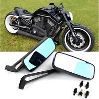 Universal Motorcycle Rectangle Rearview Side Mirrors For Kawasaki Suzuki 8/10mm