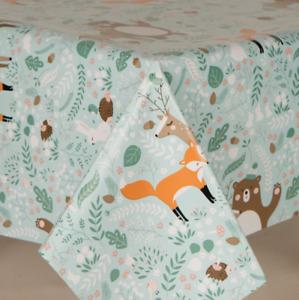Children Floral Printed Animals Pvc Vinyl Table Cloth Plain Blue Nursery Fox