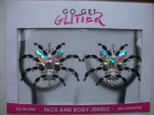 SELF ADHESIVE FACE JEWELS BY GO GET GLITTER - SPIDER BOOB- - NEW