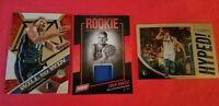 LUKA DONCIC Worn Rookie Jersey Card + MOSAIC INSERT + PRIZM INSERT DALLAS MAVS