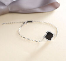 lucky Four-leaf clover 925 sterling silver zircon bracelet birthday gift