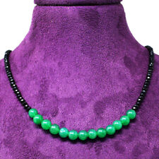 55.00 Cts Earth Mined Faceted Black Spinel & Emerald Beads Necklace NK 33E60