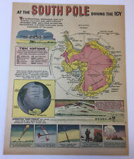 1957 cartoon page ~ The South Pole During The Igy International Geophysical Year