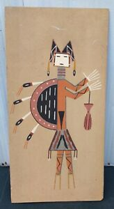 """Vintage Navajo Indian Sand Painting Yei Camel God 12"""" x 24"""" Signed A. Watchman"""