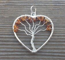 HEART STYLE CITRINE TREE OF LIFE WIRE WRAPPED PENDANT STONE GEMSTONE