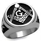 Men's Die Struck Stainless Steel 316L Masonic Freemason Ring Size 8-13