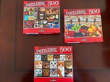 Lot of 3 Puzzlebug Puzzles 500 pc Collage Cats Kittens Coffee Fruit Jams ~ P527