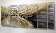 Silver, Brown & Gold Modern Metal Wall Art, Abstract Wall Sculpture - Jon Allen
