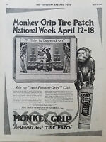 1920 Vintage Monkey Grip Worlds Best Car Tire Patch Original Ad