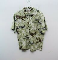 Kalaheo Medium Hawaiian Shirt Mens Bombers Planes Short Sleeve Button Green WWII