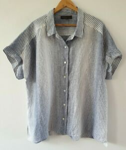 Maggie T Plus Blue White Striped 100% Linen Short Sleeve Shirt Sz 2 EUC