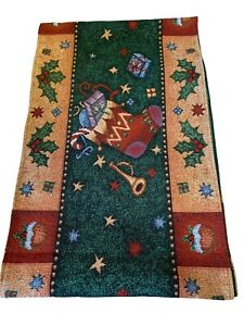 """Christmas Stocking Tapestry Table Runner 13x72"""" Holiday Decor Dining Room Stars"""