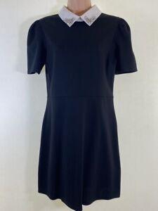NWT RIVER ISLAND black jersey smock dress w white jewelled collar size 12 £36