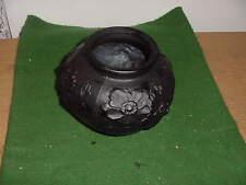 Vintage Black Depression Glass 5 1/2 inch Vase, unsigned, Floral Design