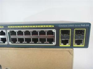 Cisco WS-C2960-24PC-L 24 Port POE Switch Dual Gigabit Uplinks 15.0t  ios Tested