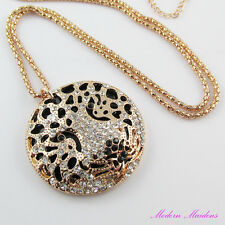 Rhinestone Leopard Sweater Necklace 76cm gold chain