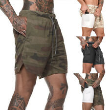 Double Layer Shorts Mens Summer Quick-drying Workout Fitness GYM Sports Pants