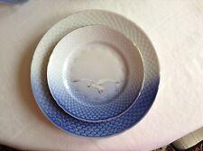 ROYAL COPENHAGEN B&G Seagull plates, set of 2, blue with 22 carat gold trim