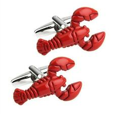 LOBSTER CUFFLINKS Red Enamel NEW w GIFT BAG Chef Fisherman Foodie Father's Day