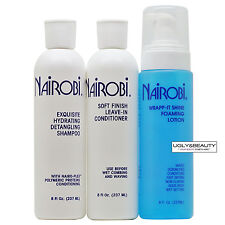 Nairobi Exquisite Hydrating Detangling Shampoo + Leave-In + Wrap-it Shine Set