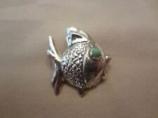 VINTAGE MEXICO FISH PIN WITH TURQUOISE EYE--925--BEAUTIFUL