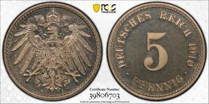Germany 1910-A 5 Pfennig, KM-11, PCGS PR65DCAM