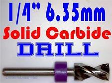"1/4"" .250""  -Solid Carbide Drill Bit - 1/8"" Shank -Sharp! CNC Hobby Model -lu"