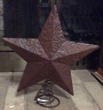 NEW Brown Rustic Metal Star Christmas Tree Topper