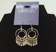 Earrings w/ Fringed Beads - New Jlo Jennifer Lopez Double Drop Hoop Chandelier