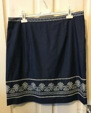 Laura Ashley Denim Blue Embroidered Skirt Size 18 With Pockets. Vgc