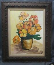 Vintage Oil Painting Expressionist Mid Century Modern Still Life Flowers Floral