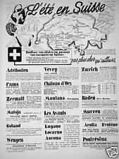 PUBLICITÉ 1935 L'ÉTÉ EN SUISSE PAS PLUS CHER QU'AILLEURS ADELBODEN VEVEY ZERMATT