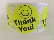 """500 THANK YOU SMILEY 2"""" YELLOW NEON BEST PRICE THANK YOU LABELS 2"""" SHIPPING NEW"""
